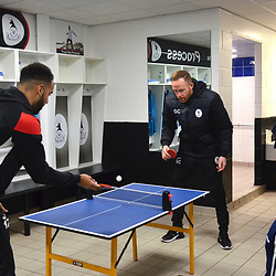 TELFORD COPYRIGHT MIKE SHERIDAN Gavin Cowan and Brendon Daniels play table tennis in the dressing room prior to the Vanarama National League Conference North fixture between AFC Telford United and Spennymoor Town on Saturday, November 16, 2019.<br /> <br /> Picture credit: Mike Sheridan/Ultrapress<br /> <br /> MS201920-030