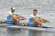Eton Dorney, Windsor, Great Britain,..2012 London Olympic Regatta, Dorney Lake. Eton Rowing Centre, Berkshire[ Rowing]...Description;  Heat, Men's double Sculls: .Luka SPIK (b) , Iztok COP (s).LTU.M2X Rolandas MASCINSKAS (b) , Saulius .GBR M2X Bill LUCAS (b) , Sam TOWNSEND (s).NOR.M2X Nils Jakob HOFF (b) , Kjetil BORCH (s).FRA.M2X Julien BAHAIN (b) , Cedric BERREST (s).CAN M2X Michael BRAITHWAITE (b) , Kevin KOWALYK (s)..Dorney Lake. 12:21:42  Tuesday  31/07/2012.  [Mandatory Credit: Peter Spurrier/Intersport Images].Dorney Lake, Eton, Great Britain...Venue, Rowing, 2012 London Olympic Regatta...