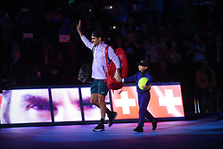 November 12, 2017 - London, United Kingdom - Roger Federer of Switzerland walks out for his opening singles round robin match against Jack Sock of the United States during the Nitto ATP World Tour Finals at O2 Arena, London on November 12, 2017. (Credit Image: © Alberto Pezzali/NurPhoto via ZUMA Press)