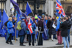 © Licensed to London News Pictures. 08/01/2020. London, UK. Anti-Brexit protesters demonstrates outside Houses of Parliament ahead of BORIS JOHNSON'S meeting with President of the European Council URSULA VON DER LEYEN and MICHEL BARNIER, the EU chief negotiator later today. Photo credit: Dinendra Haria/LNP