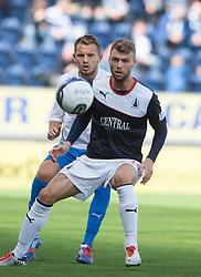 Morton's Scott Taggart and Falkirk's Rory Loy.<br /> Falkirk 3 v 1 Morton, Scottish Championship 17/8/2013.<br /> ©Michael Schofield.