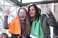 Karen Warner, and her daughter, Leah, 11, from Newry, Down at the centenary Easter Rising Parade at Cuffe Street in Dublin. Picture credit; Damien Eagers 27/3/2016