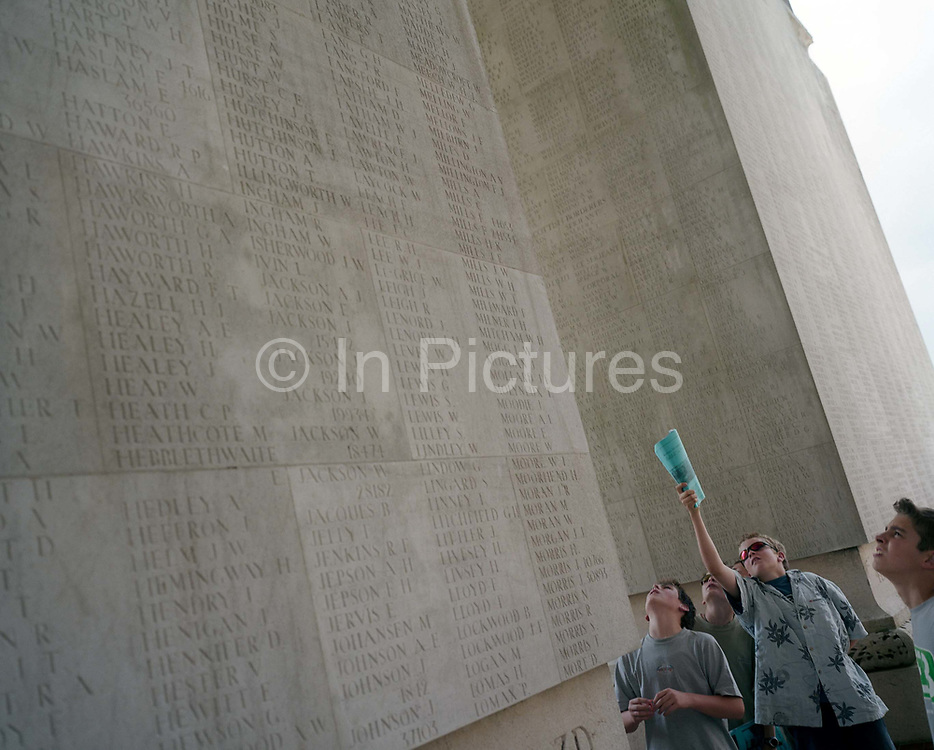 Pupils from Woolmer Hill School, Haslemere, Surrey, at the WW1 Thiepval Memorial, the largest British war memorial in the world – there were more than 57,000 British casualties in a single day during the battle of the Somme.  The Thiepval Memorial to the Missing of the Somme is a major war memorial to 72,191 missing British and South African men who died in the Battles of the Somme of the First World War between 1915 and 1918 with no known grave. Designed by Sir Edwin Lutyens, the memorial was built between 1928 and 1932 and is the largest British battle memorial in the world.