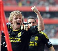 Dirk Kuyt Celebrates Scoring equaliser<br />Liverpool 2010/11<br />Arsenal V Liverpool (1-1) 17/04/11<br />The Premier League<br />Photo: Robin Parker Fotosports International