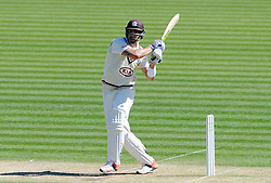 Surrey's Kevin Pietersen pulls the ball off the bowling of Glamorgan's Craig Meschede. - Photo mandatory by-line: Harry Trump/JMP - Mobile: 07966 386802 - 22/04/15 - SPORT - CRICKET - LVCC County Championship - Division 2 - Day 4 - Glamorgan v Surrey - Swalec Stadium, Cardiff, Wales.