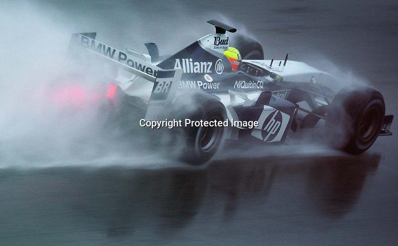 """V. 16. Valencia, 20/02/2004. El piloto alemán de Williams-BMW, Ralf Schumacher, surca el agua con su FW-26 durante los entrenamientos llevados a cabo hoy en el Circuito """"Ricardo Tormo"""" de Cheste (Valencia). EFE / Kai Försterling."""