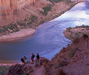 Nankoweap Creek Delta view, looking downstream, Colorado River mile 53, Grand Canyon National Park, Arizona, USA; 4 May 2008; Pentax 67II, 200 mm lens, Velvia 100; photographers Ralph Lee Hopkins, Maia Nelson & Rob Elliot enjoy their shooting, while Tom Robinson walks the river's edge in the distance (MRs available for all)