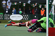 Phoebe Richards of Wales (l) dives for a shot but sees it saved by Russia goalkeeper Anna Pakhotnova. Wales v Russia, semi final,  EuroHockey 11 Women's championshp 2017 in Cardiff, South Wales , Friday 11th August 2017<br /> pic by Andrew Orchard