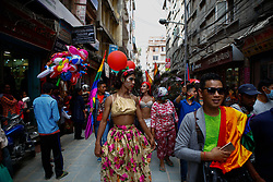 August 8, 2017 - Kathmandu, Nepal - People wearing colourful costume take part in the Gay pride parade in Kathmandu, Nepal, August 8, 2017. Hundreds of Lesbian, Gay, Bisexual and Transgender (LGBT) activists and members of Blue Diamond society, LGBT rights organization, participated in the parade demanding equal rights in the society. Sunil Pradhan/Nurphoto  (Credit Image: © Sunil Pradhan/NurPhoto via ZUMA Press)