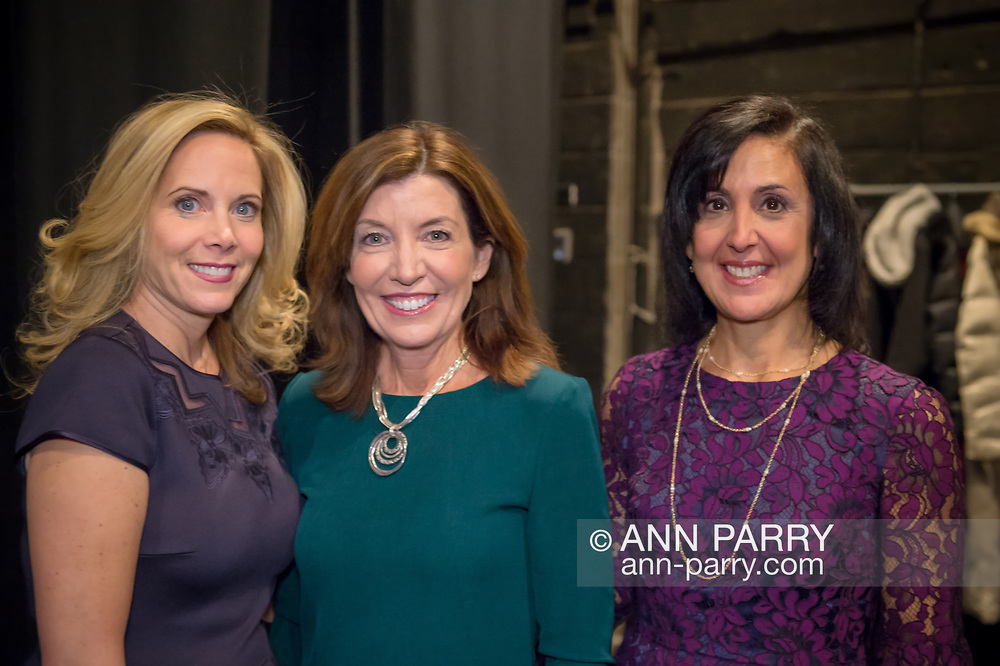 Hempstead, New York, USA. January 1, 2018. L-R, Hempstead Town Supervisor-Elect LAURA GILLEN, New York State Lt. Governor KATHY HOCHUL, and Hempstead Town Clerk-Elect SYLVIA CABANA pose for photo shortly before Lt. Gov. swears-in Gillen, at Hofstra University.