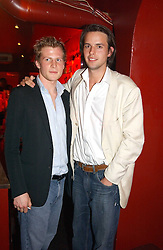 Left to right, BEN TOWILL and CHARLIE GILKES at an Easter party hosted by Charlie Gilkes under the umbrella of his new PR/Events Company; 'Chic Vie' at trendy South Kensington Nightclub; 'Boujis' that is a favourite with Princes William and Harry and a host of other celebrities on 21st March 2005. Guests enjoyed a fruit martini reception on arrival and danced the night away until the early hours<br />