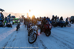 Baikal Mile Ice Speed Festival competitors parade on the lake. Maksimiha, Siberia, Russia. Friday, February 28, 2020. Photography ©2020 Michael Lichter.