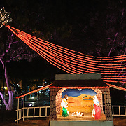 This illuminated Christmas nativity scene was on display in the main square of Valladolid, a colonial town in the center of Mexico's Yucatan Peninsula.
