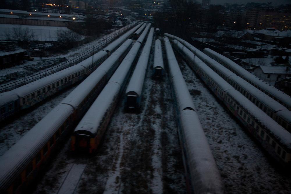 Tracks at the central rail yard in Belgrade, Serbia. December 2010.