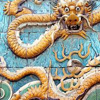 Asia, China, Beijing. Forbidden Palace Dragon Tiles.