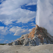 Erupting Geyser Big Clouds - Yellowstone National Park