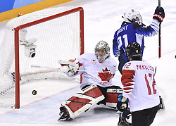 February 22, 2018 - Pyeongchang, South Korea - USA's HILARY KNIGHT scores past Canada goalie SHANNON SZABADOS in the first period of the Women's Gold Medal Ice Hockey game Thursday, February 22, 2018 at Gangneung Hockey Centre at the Pyeongchang Winter Olympic Games. Photo by Mark Reis, ZUMA Press/The Gazette (Credit Image: © Mark Reis via ZUMA Wire)
