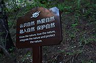Nature-loving sign, Beiyue Hengshan Mountain, Datong, Hunyuan County, Shanxi Province, China