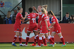 Caroline Weir of Bristol Academy celebrates with her team mates after scoring - Mandatory byline: Dougie Allward/JMP - 07966386802 - 27/08/2015 - FOOTBALL - Stoke Gifford Stadium -Bristol,England - Bristol Academy Women FC v Oxford United Women - FA WSL Continental Tyres Cup