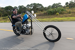 RJ Powell riding his Cutting Edge Customs 1990 Harley-Davidson Sportster chopper on a ride to Cape Canaveral during Daytona Beach Bike Week, FL. USA. Monday, March 11, 2019. Photography ©2019 Michael Lichter.