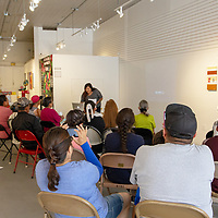 ART123 Gallery was packed July 17, 2018 for Hannan Manuelito's last artist-in-residence talk on reflecting about her time there.