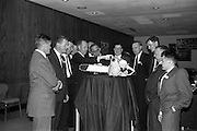 19/09/1963<br /> 09/19/1963<br /> 19 September 1963<br /> McCulloch's Chainsaws dealers meeting at the Intercontinental Hotel, Dublin. Picture shows some Munster dealers in discussion with visitors to the meeting. Included: Mr. l. Wilson, J. and G. Boyd Ltd., Limerick; Mr. J. O'Brien, O'Brien Bros., Tallow; Mr. D. O'Shea, Killarney; Hans Engdahl, McCulloch's, Belgium; Mr. Gene Koll, McCulloch's International, Los Angeles; Mr. K. Broderick, R. Broderick and Sons Ltd., Dublin; Mr. J. Bryan, J. and G. Boyd Ltd., Clonmel; Mr. P. Keogh, Dublin; Mr. J. Lucey, Lucey and O'Connell Ltd., Cork; Mr. L.  Seymour, Abbey Iron Works, Nenagh; Mr. M. Murphy, J. and G. Boyd, Clonmel and Mr. G. Shannon, J. and G. Boyd, Limerick.