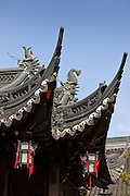 Chinese lanterns hanging from the Happiness Tower roofs, in the Yu Gardens, Shanghai, China