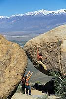 Chris Muzzillo Sarah Allen and Mandi Finger bouldering at the Druid Stones; Bishop, CA