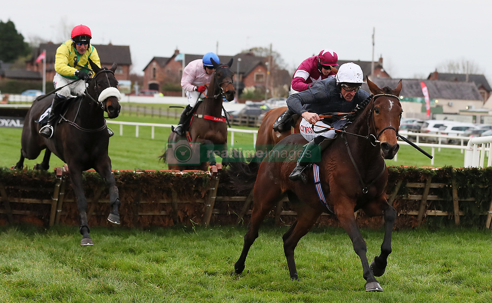 Just Janice ridden by Davy Russell (right) races clear of the last on the way to winning the Lough Construction Ltd. Irish EBF Mares Novice Hurdle during day one of the Down Royal festival at Down Royal racecourse.