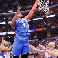 11 May 2014: Oklahoma City Thunder forward Serge Ibaka (9) misses the offensive outback at the final buzzer during the Los Angeles Clippers 101-99 victory over the Oklahoma City Thunder, during Game Four of the Western Conference Semifinals of the NBA Playoffs, at the Staples Center, Los Angeles, California, USA.