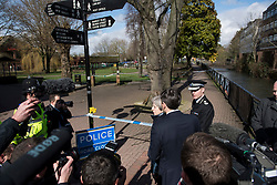 © Licensed to London News Pictures. 15/03/2018. Salisbury, UK. British Prime Minister THERESA MAY looks over the scene where where Former Russian spy Sergei Skripal and his daughter Yulia were found, during a visit to Salisbury, Wiltshire. The couple where found unconscious on bench in Salisbury shopping centre. A policeman who went to their aid is currently recovering in hospital. Photo credit: Ben Cawthra/LNP