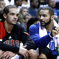 29 January 2012: Chicago Bulls power forward Carlos Boozer (5) talks to Chicago Bulls center Joakim Noah (13) during the Miami Heat 97-93 victory over the Chicago Bulls at the AmericanAirlines Arena, Miami, Florida, USA.