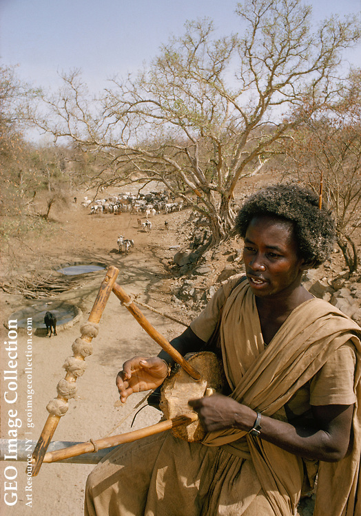 A herder passes the time playing a five-string krar.