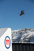 Great British freestyle skier Chris McCormick from GB Park & Pipe, the freestyle Ski and Snowboard Olympic development team, at their brand new winter training facility in Mottolino Snow Park on 7th December 2017 in Livingo, Italy. The Big Air Bag is the first of its kind and has been developed by the GB Park & Pipe's Hamish McKnight and Lesley McKenna. The air bag was built by BigAirBag company from Holland.