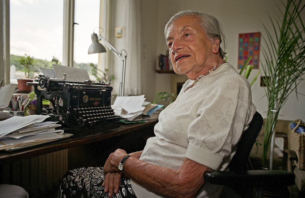 "Lenka Reinerova, pictured in 2004 as the oldest living German-language writer in Prague, in her apartment located in Prague Smichov. She came to know some of the extraordinary literary figures of Prague at the time, including Franz Kafka's friend, Max Brod, and the famous ""roving reporter"" Egon Erwin Kisch. Lenka Reinerova died June 27, 2008 in Prague at the age of 92."