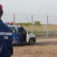 Police officers patrol next to the fence on the border between Serbia and Hungary near Roszke (about 174 km South of capital city Budapest), Hungary on September 15, 2015. ATTILA VOLGYI