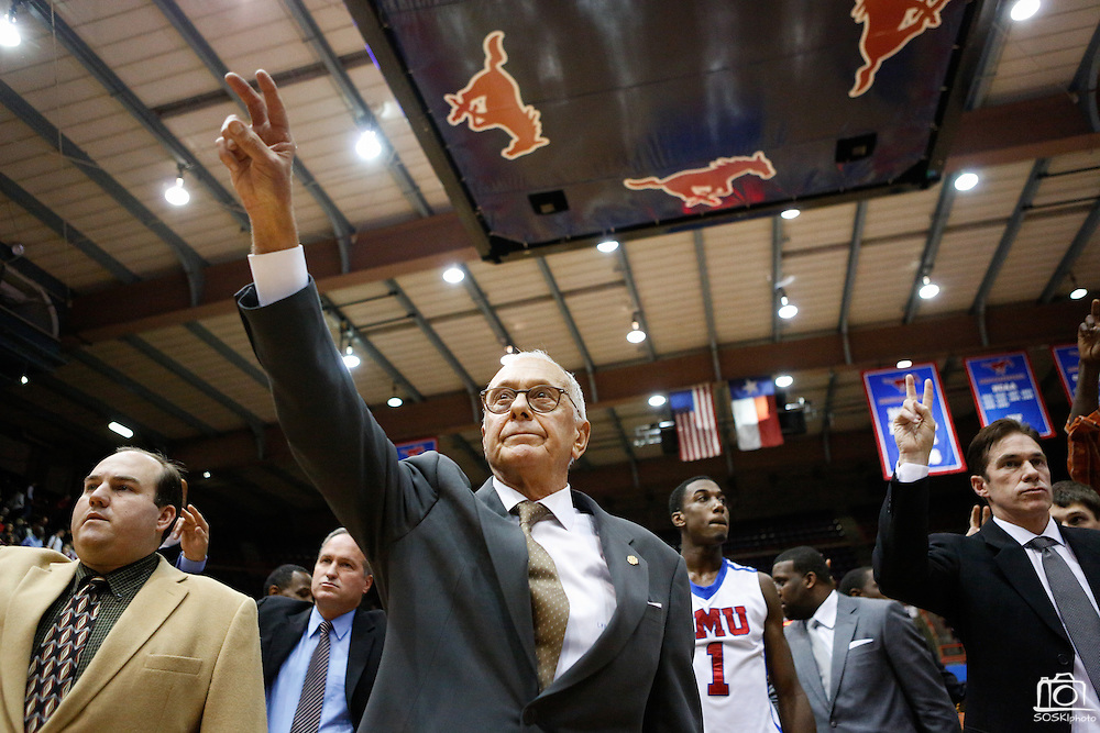 Southern Methodist University's head coach Larry Brown salutes the fans after SMU's loss to Tulsa, 48-47, at Moody Coliseum in Dallas, Texas, on January 6, 2013.  (Stan Olszewski/The Dallas Morning News)