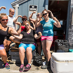"""The crew of lobster buyers, aka the """"Co-op Chicks"""" at the Vinalhaven Fishermen's Co-op in Vinalhaven, Maine. Back row, left to right: Abby Harris, Karen Krager, Veronica Ames(boss). Front row, left to right: Emilia Doak, Kirsten Barcon, Katilyn Willis."""
