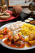 Indian Ethnical Food Thali wiith Vegetables and Chicken Curry with rice