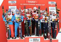 Langrenn<br /> FIS World Cup<br /> 24.01.2016<br /> Foto: Gepa/Digitalsport<br /> NORWAY ONLY<br /> <br /> NOVE MESTO,CZECH REPUBLIC,24.JAN.16 - NORDIC SKIING, CROSS COUNTRY SKIING - FIS World Cup, 4x7,5km relay, men. Image shows Evgeniy Belov, Alexander Legkov, Alexey Chervotkin, Sergey Ustiugov (RUS), Sjur Røthe, Martin Johnsrud Sundby, Mathias Rundgreen, Finn Hågen Krogh (NOR) and Dietmar Noeckler, Francesco De Fabiani, Roland Clara, Federico Pellegrino (ITA).