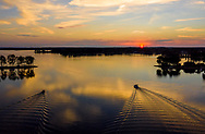 Aerial drone photo of two boats at Sunset on Lake Murray in Columbia, SC. Photo © Jeff Blake Photo