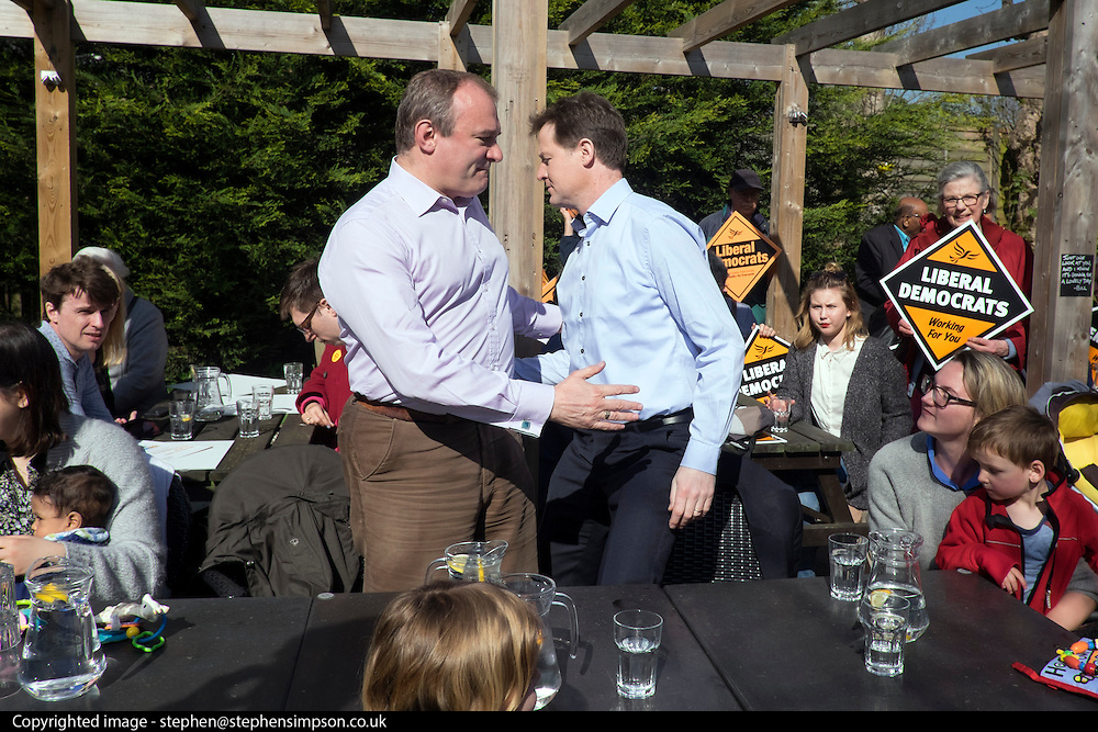 © Licensed to London News Pictures. 06/04/2015. Surbiton, UK. NICK CLEGG and ED DAVEY switch places as they meet supporters.  Liberal Democrat Leader and Deputy Prime Minister NICK CLEGG and climate secretary ED DAVEY campaigning for votes in the general election in Ed Davy's constituency of Surbiton today 6th April 2015. Photo credit : Stephen Simpson/LNP