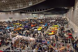 Overhead view of the 650 custom bikes and 300 custom cars at the Mooneyes Yokohama Hot Rod & Custom Show. Yokohama, Japan. December 6, 2015.  Photography ©2015 Michael Lichter.