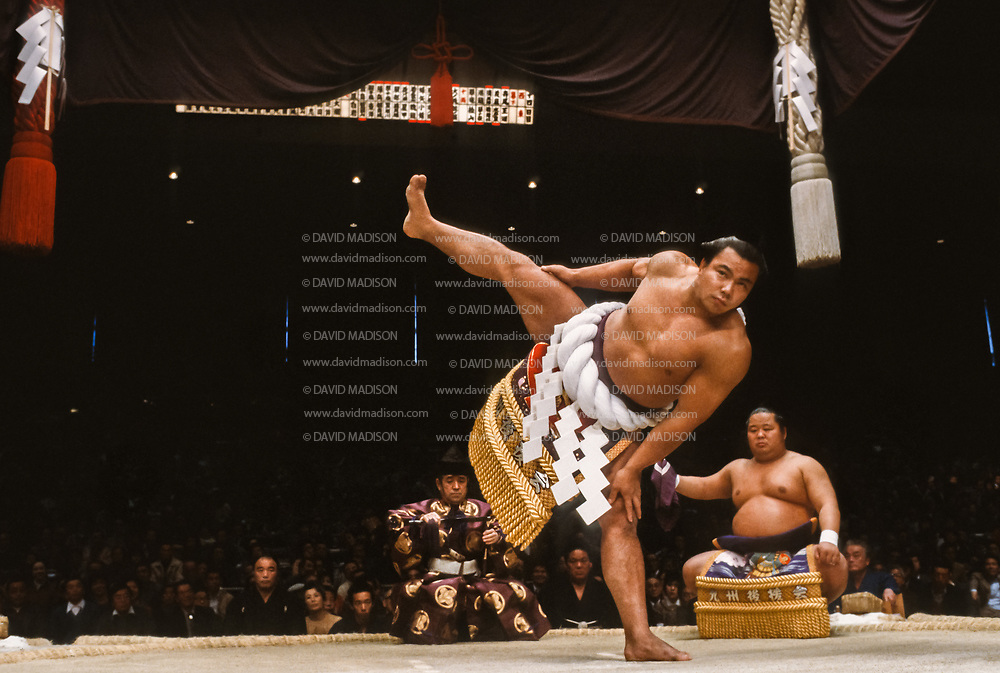 FUKUOKA, JAPAN - NOV 1983:  Chiyonofuji Mitsugu, born as Akimoto Mitsugu, appears in a ceremony before a match during the 1983 Kyushu Basho sumo wrestling tournament held in November 1983 at the Fukuoka Kokusai Center in Fukuoka, Japan.  (Photo by David Madison/Getty Images) *** Local Caption *** Chiyonofuji