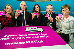 Pictured:  Shirley-Anne Somerville, John Swinney, Fiona Drouet, Richard Lockhead and Professor Andrew Nolan<br /> <br /> Education Secretary John Swinney  joined college and university staff to launch a resource to handle gender-based violence. Fiona Drouet's daughter Emily committed suicide following being abused by a fellow student.  She started the Emily test and gathered political support for the establishment of a resource so that all students and staff who how to repond if they or others are abused due to gender.  More than 100,000 cards have been printed featuring the national support helplines for gender-based violence and sexual harassment. They have been designed to be carried constantly by staff, to enable them to quickly refer any victims to help.