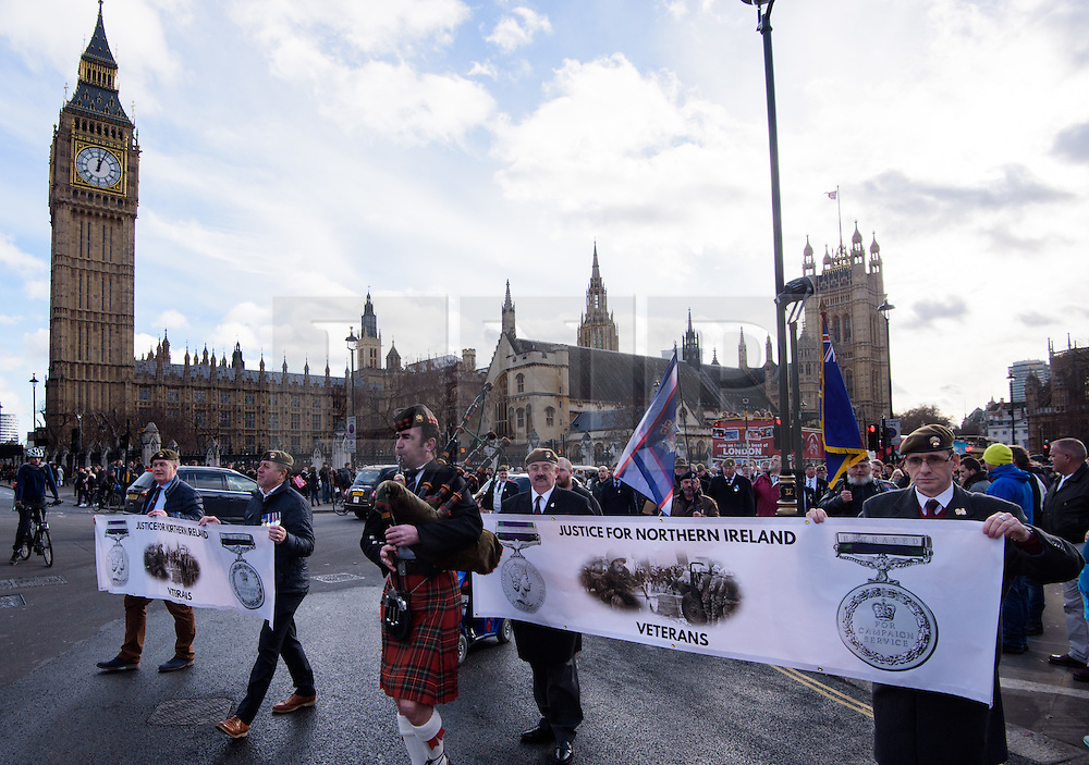 © Licensed to London News Pictures. 26/04/2016. London, UK.  Northern Ireland Veterans parade before handing in a Petition 'Justice for Northern Ireland Veterans' to No 10 Downing St.  <br />  Photo credit: Anthony Upton/LNP
