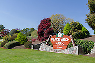 BC Provincial Park sign at Peace Arch Provincial Park in South Surrey, British Columbia, Canada