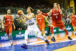 Luka Doncic #77 of Slovenia and Keller Akos #6 with Vojvoda David #9 of Hungary during friendly basketball match between National teams of Slovenia and Hungary on day 1 of Adecco Cup 2017, on August 4th in Arena Tabor, Maribor, Slovenia. Photo by Grega Valancic/ Sportida