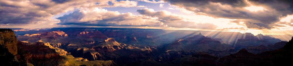 Panorama Landscape of the Grand Canyon at Sunrise in Arizona. ©justinalexanderbartels.com