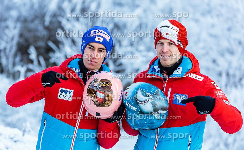 02.01.2017, Seefeld, AUT, FIS Weltcup Ski Sprung, Vierschanzentournee, Innsbruck, im Bild v.l.: Stefan Kraft (AUT) und Michael Hayboeck (AUT) während eines Medientermins des ÖSV // f.l.: Stefan Kraft of Austria and Michael Hayboeck of Austria during a Media Event of the Austrian Skijumping Team before the 3rd Stage Insbruck of the Four Hills Tournament of FIS Ski Jumping World Cup at Seefeld, Austria on 2017/01/02. EXPA Pictures © 2017, PhotoCredit: EXPA/ JFK